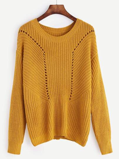 Mustard Drop Shoulder Eyelet Sweater