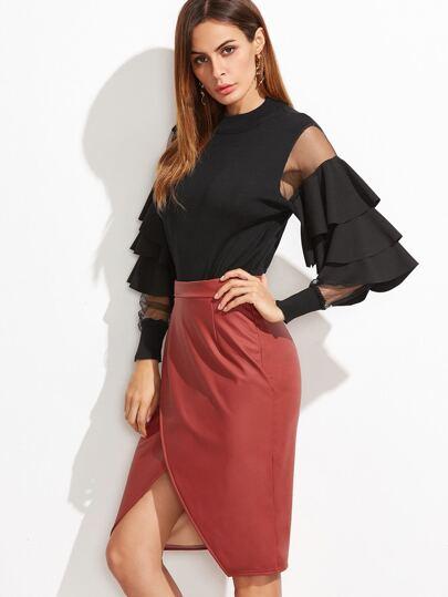 Black Contrast Mesh Sleeve Ruffle Tiered Trim Sweater