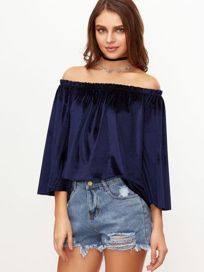 Top con hombros al aire y manga de kimono - azul marino