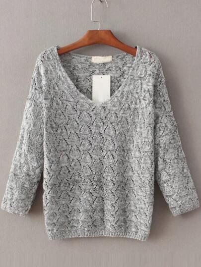 Jersey hueco con escote V - gris claro