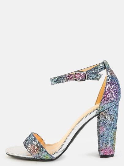 Chunky Heel Ombre Glitter Heels MULTI