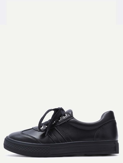 Black Lace Up Rubber Sole Low Top PU Sneakers