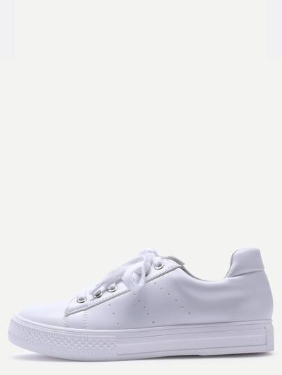 White Breathable Rubber Sole Low Top Sneakers