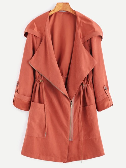 Brick Red Suede Asymmetric Zip Hooded Coat