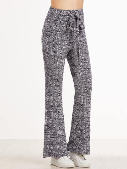 Grey Marled Ribbed Knit Belted Flared Pants