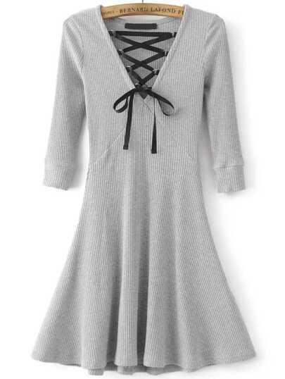 Grey Lace Up V Neck 3/4 sleeve A Line Dress