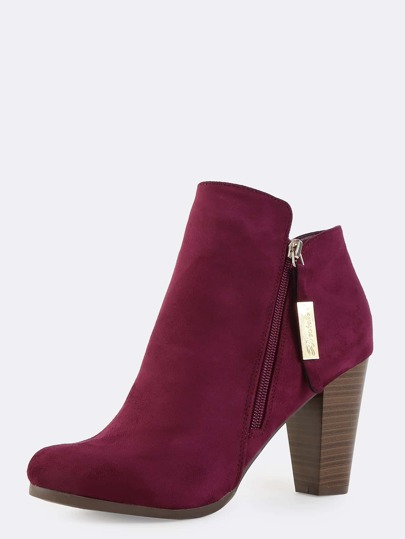 Stacked Chunky Heel Suede Boots WINE