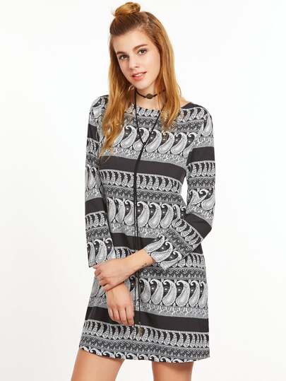 Black And White Paisley Print Tunic Dress