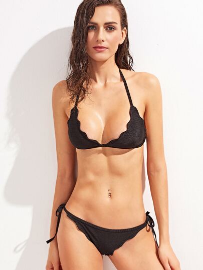 Black Halter Neck Lace Up Bikini Set