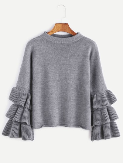 Pull-over manche volants superposé -gris