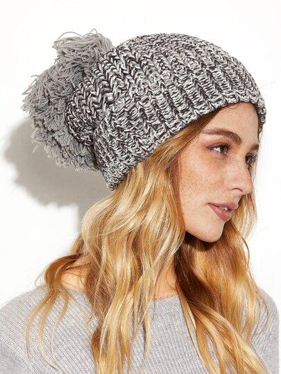 Grey Marled Soft Pom Pom Chunky Knit Hat