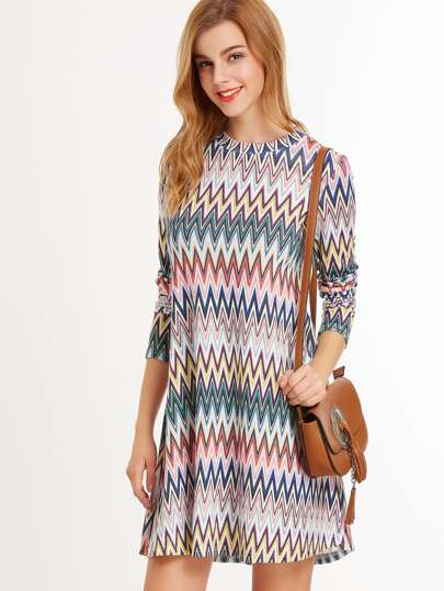 Multicolor Chevron Print Long Sleeve A Line Dress