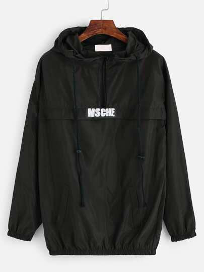 Sudadera con estampado capucha y detalle de cremallera - negro