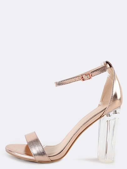 Rose Gold Ankle Strap Clear High Heels Sandals