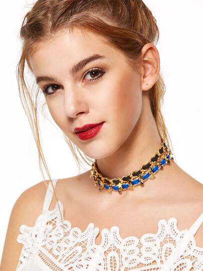 Gold Charm Trim Double Layer Contrast Choker Necklace