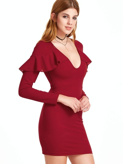 Burgundy Deep V Neck Ruffle Trim Bodycon Dress