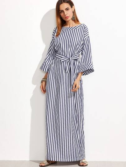 Navy And White Striped Self Belt Roll Cuff Maxi Dress