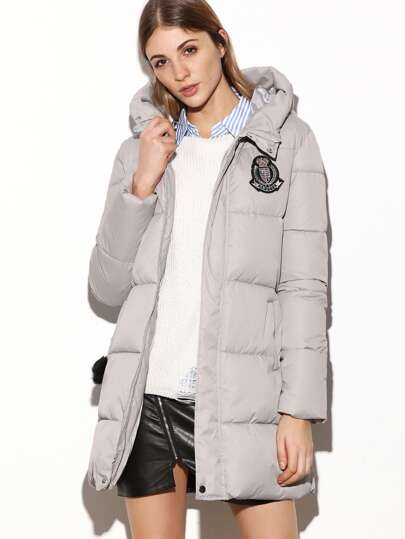 Grey Hooded Zipper Patch Padded Coat