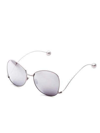 Silver Frame Large Lens Metal Ball Stylish Glasses