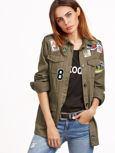 Olive Green Button Up Utility Jacket With Patch