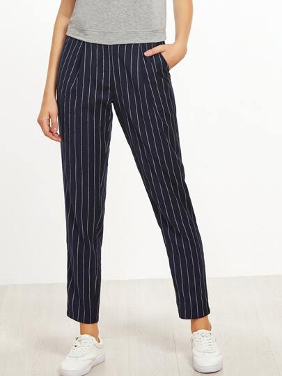Navy Pinstripe Crop Peg Pants