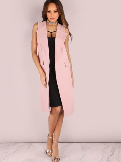Longline Wool Duster Vest Coat BLUSH
