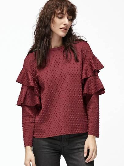 Burgundy Polka Dot Embossed Layered Ruffle Sleeve Blouse