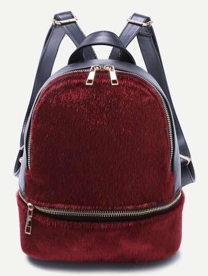 Rucksack mit Reißverschluss Kunstpelz-burgund rot