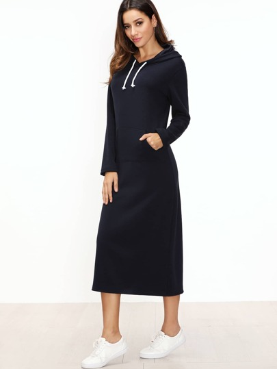 Navy Hooded Sweatshirt Dress With Pocket