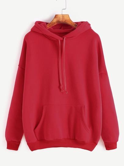 Sudadera hombro caído con capucha y bolsillo - rojo