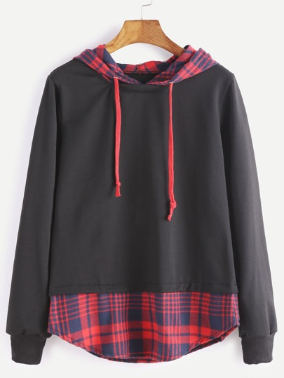 Black Hooded Contrast Plaid Hem 2 In 1 Sweatshirt