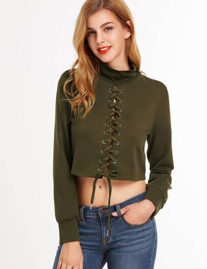 Olive Green High Neck Lace Up Crop Sweatshirt