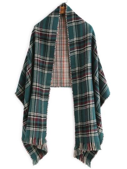 зелёный клетчатый шарф шалью