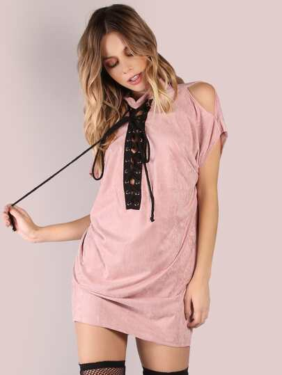 Mock Neck Lace Up Shoulder Slit Suede Tunic DUSTY PINK