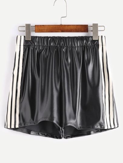Black Faux Leather Striped Side Elastic Waist Shorts