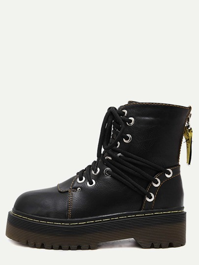 Black Round Toe PU Lace Up Martin Boots