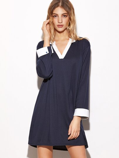 Contrast Trim V Neck Slit Side Shirt Dress