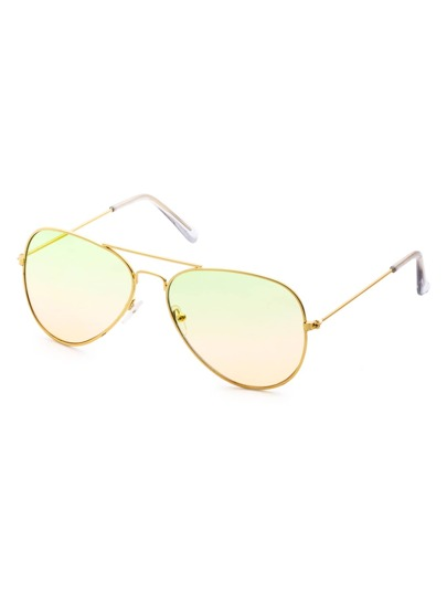 Green And Orange Ombre Double Bridge Aviator Sunglasses