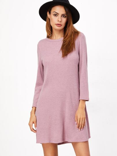 Pink Ribbed Knit A Line Dress