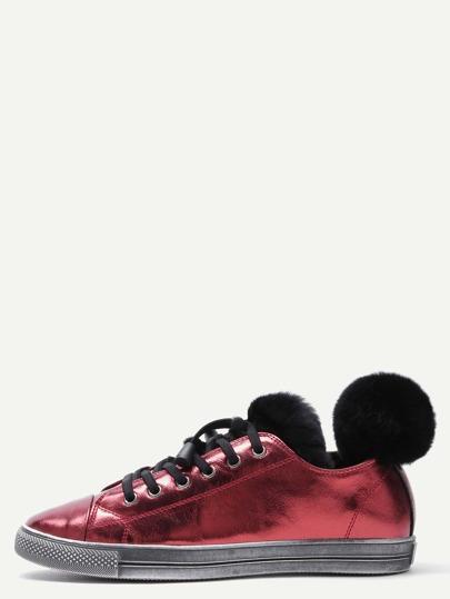 Zapatillas deportivas de cuero y ribete de piel - burdeos