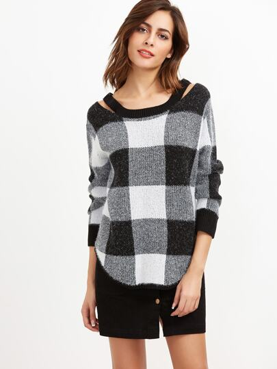 Pullover Cut-Outs Kragen-schwarz und weiß