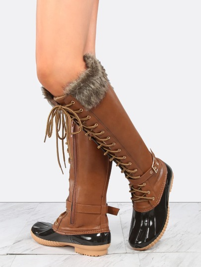 Lace Up Knee High Duck Boots TAN