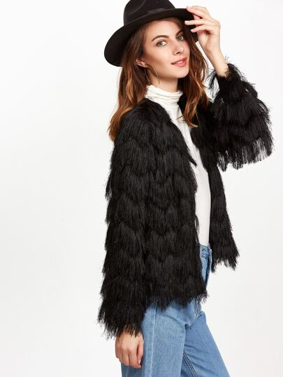 Black Layered Chevron Faux Fur Coat