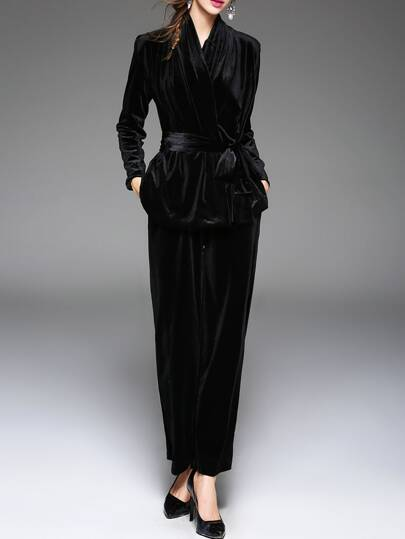 Black Tie-Waist Velvet Top With Pants