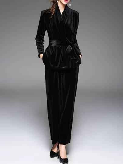 Samt Oberteile mit Hosen Schleife am Taille -schwarz
