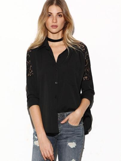 Black Lace Insert Curved Hem Shirt