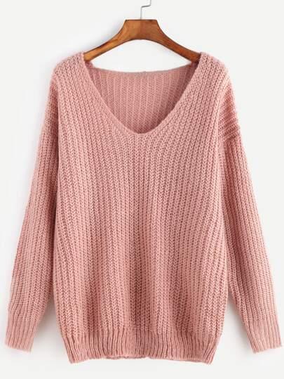 Pull tricoté à nervures encolure en V à l'épaule laissé-rose