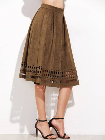 Brown Faux Suede Laser Cutout Midi Skirt