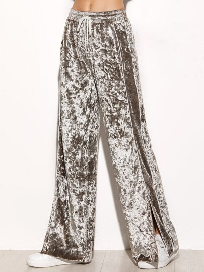 Grey Striped Side Slit Wide Leg Velvet Drawstring Pants