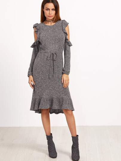 Grey Marled Open Shoulder Drawstring Waist Ruffle Dress